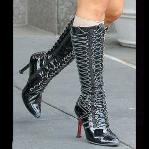Lady Gaga Stage Worn Black Leather Lace-Up Boots